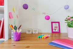 Desk of little girl Stock Photos