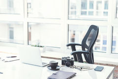 Desk of manager with personal things royalty free stock photography