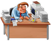 Desk in a mess. Worker overworked sit in a desk with too many jobs to do Stock Images