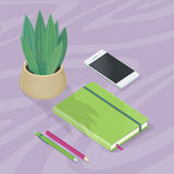Desk with Mobile Phone, Pencils, Plant, Note Book Royalty Free Stock Image