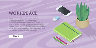 Desk with Mobile Phone, Pencils, Plant, Note Book Stock Image