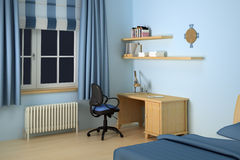 Desk in modern bedroom. 3d illustration of desk and chair in blue decorated bedroom Stock Photo