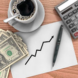 Desk with money. Background illustrating business growth management Stock Photography