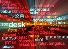 Desk multilanguage wordcloud background concept glowing Royalty Free Stock Photography