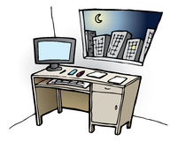 Desk at Night. Vector illustration of office desk with the night sky seen throught the window Royalty Free Stock Photo