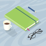 Desk with Note Book, Glasses Pen and Cup of Coffee Stock Photography