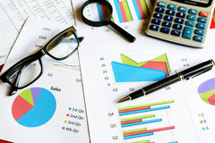 Desk office business financial accounting calculate, Graph analy. Sis Stock Photography