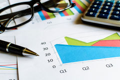 Desk office business financial accounting calculate, Graph analy Stock Photo