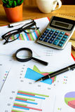 Desk office business financial accounting calculate, Graph analy. Sis Stock Images