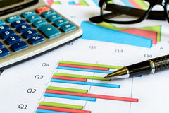 Desk office business financial accounting calculate, Graph analy. Sis Royalty Free Stock Photo