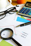 Desk office business financial accounting calculate, Graph analy Royalty Free Stock Image