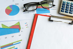 Desk office business financial accounting calculate, Graph analy Royalty Free Stock Photos