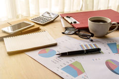 Desk office business financial accounting calculate, Graph analy. Desk office business financial accounting calculate with soft light, Graph analysis, Business Royalty Free Stock Photo