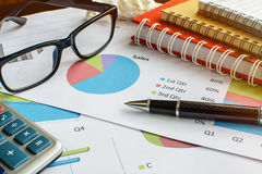 Desk office business financial accounting calculate Stock Image