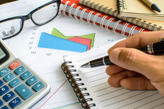 Desk office business financial accounting calculate Stock Photos
