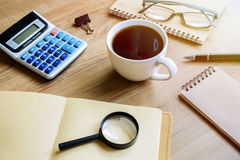 Desk office business financial accounting calculate Stock Images