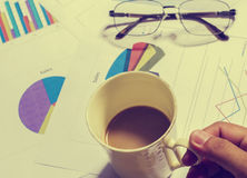 Desk office business financial accounting. With  have coffee cup Stock Image
