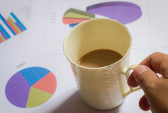 Desk office business financial accounting. With  have coffee cup Royalty Free Stock Images