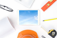 Desk office of engineer building design. Section with the pen on the drawing paper stock image