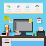 Desk in office infographic. Workplace table of worker,sticky note.Can used for banner,roll up,advertising,presentation.Vector illustration business concept stock illustration