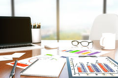 Desk with office tools Stock Images