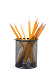 Desk organiser with pencils. Black desk organiser with pencils on a white background Royalty Free Stock Image