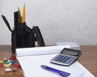 Desk Organizer With Office Tools Stock Photos
