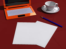 Desk with papers, laptop, pencil and cup Stock Photos