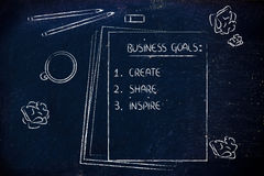 Desk with pencils, coffee and documents about business goals. Office table with business goals list:create, share, inspire royalty free stock photo