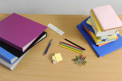 Desk with school articles Royalty Free Stock Photo