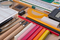 Desk with school stationary or office tools. Flat lay set of artist school stationery studio shot on school table background. Stock Photography
