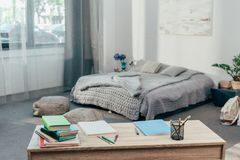 Desk with school supplies and books Royalty Free Stock Photo
