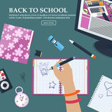 Desk Schoolgirls with exercise books and stationery. With place for your text. Vector Stock Photos