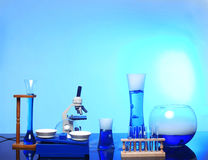 Desk With Science Equipment in Use royalty free stock photos