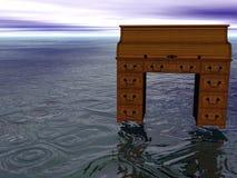 Desk at Sea. Surreal rolltop Desk at Sea Stock Images