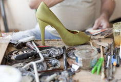 Desk shoemaker. The desk of a shoemaker Royalty Free Stock Photo