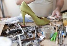 Desk shoemaker Royalty Free Stock Photo