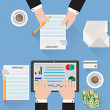 Desk signing a contract analyst blue background. Desk signing a contract analyst blue  background Royalty Free Stock Photography