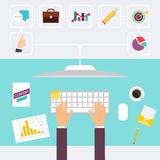 Desk and signing a document, computers and paperwork all around. Business meeting and brainstorming. Flat design Stock Image
