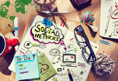 Desk with Social Network and Connection Concept Royalty Free Stock Photo