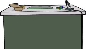 Desk with Soldering Iron royalty free illustration