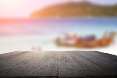 Desk space on beach side and sunny day Stock Image