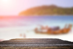 Desk space on beach side and sunny day Stock Photos