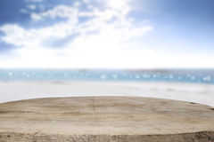 Desk space on beach side and sunny day Stock Photo