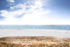 Desk space on beach side and sunny day Stock Photography