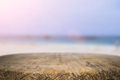 Desk space on beach side and sunny day Royalty Free Stock Images