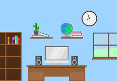 Desk with speakers and a computer. Small material design office with desk and computer Royalty Free Illustration