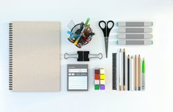 Modern workspace with stationery set on white color background. Top view. Flat lay. 3D illustration. Desk with stationery set on white color background. Top view Royalty Free Stock Photos