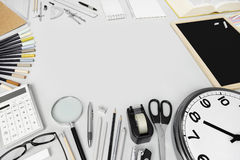 desk with stationery supplies, top view Stock Photography