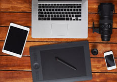 Desk of stock photographer Stock Image